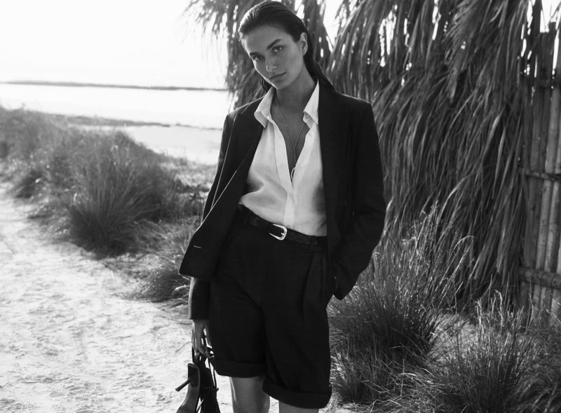 Andreea Diaconu poses in black and white for Massimo Dutti spring-summer 2020 campaign