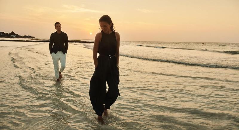 Models Andreea Diaconu and Simon Nessman pose for Massimo Dutti spring-summer 2020 campaign