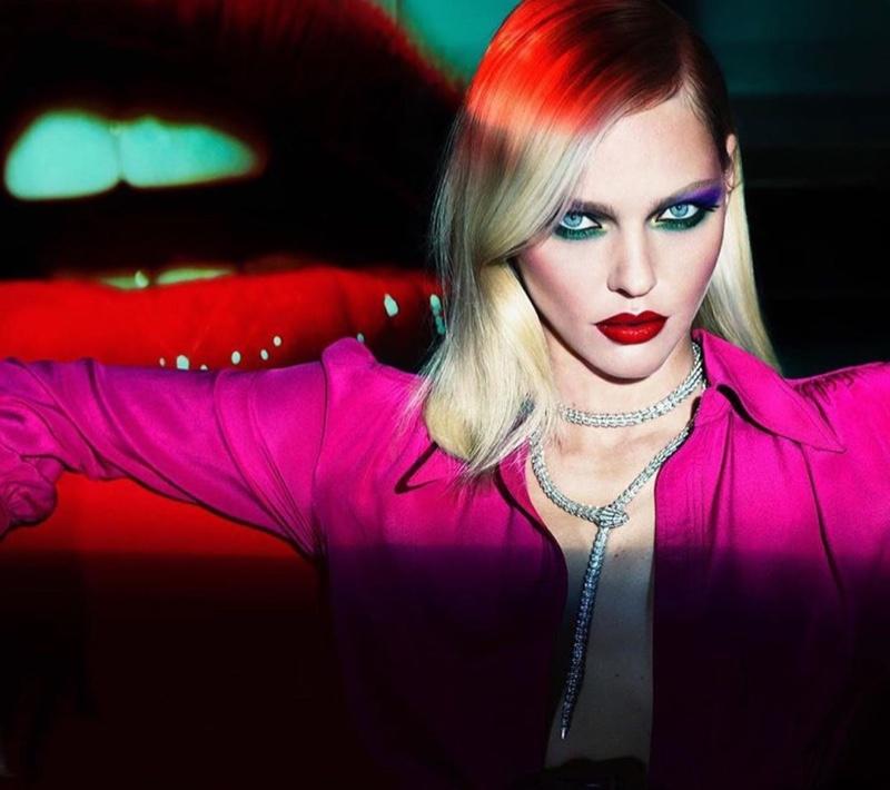 Sasha Pivovarova poses for Mert & Marcus x Lancome makeup campaign