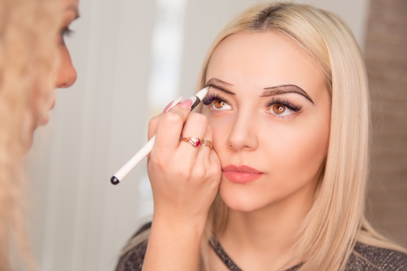 Microblading On Model Eyebrows Artist