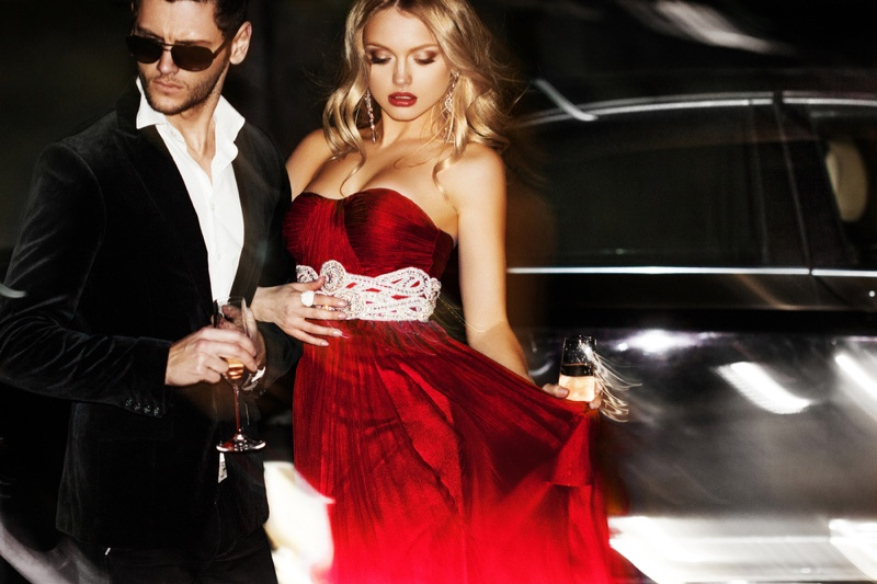 Model Couple Glamour Suit Red Dress Car