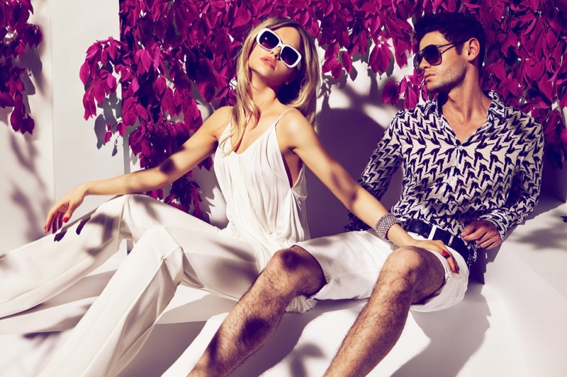 Model Couple Luxury Fashion White Jumpsuit Printed Top Shorts Sunglasses