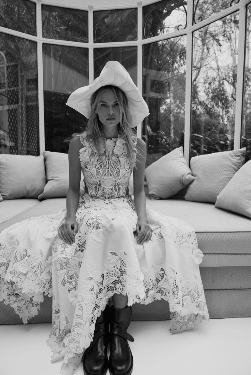 Natasha Poly Poses in Ethereal White Dresses for Vogue Russia
