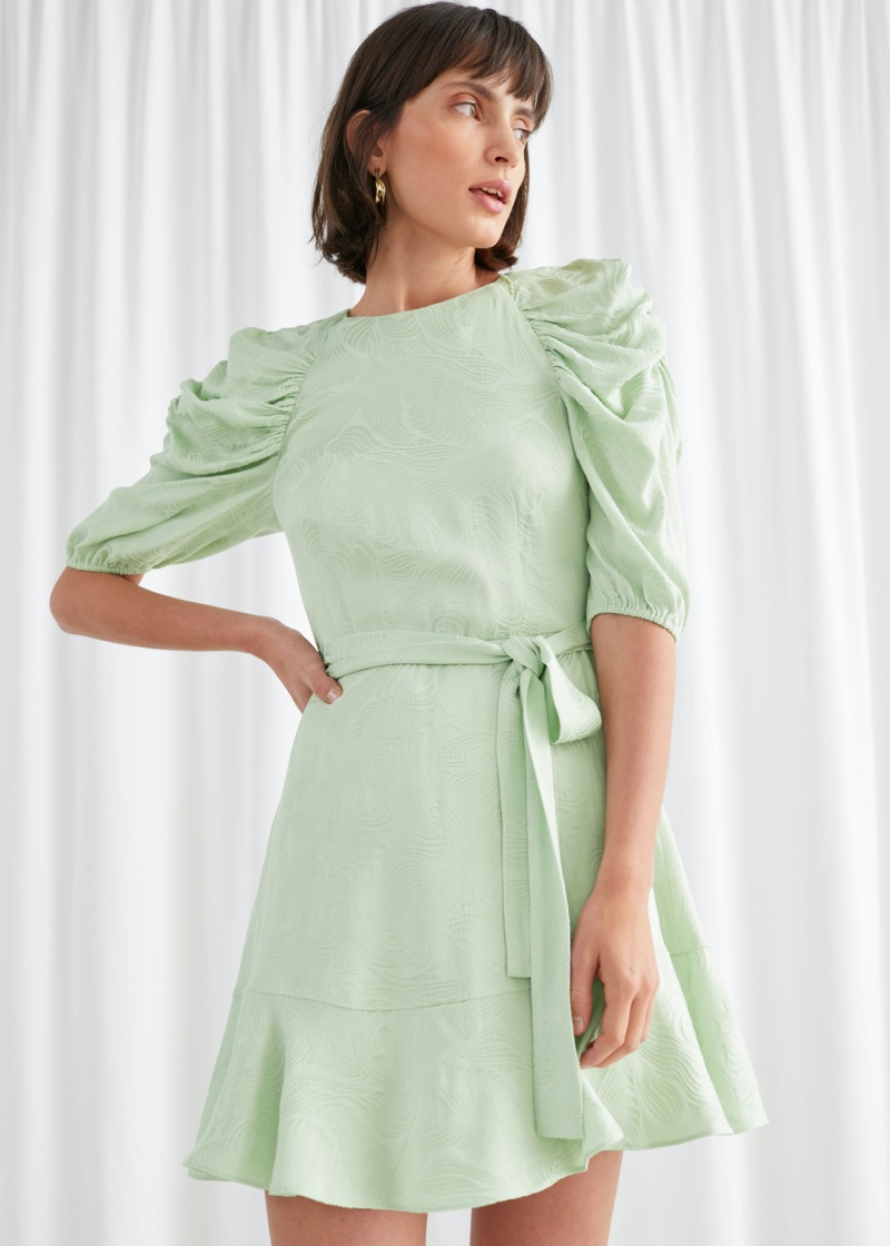 & Other Stories Belted Puff Sleeve Mini Dress $129