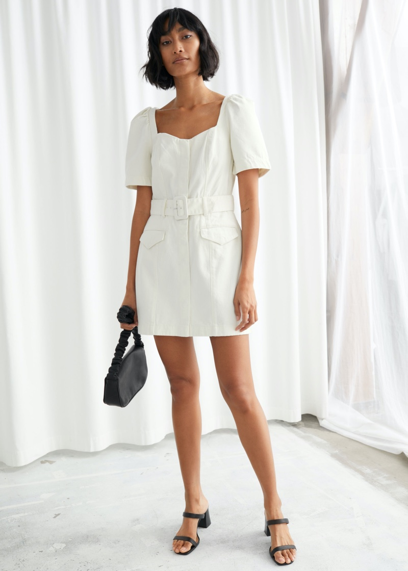 & Other Stories Belted Sweetheart Neckline Midi Dress $99