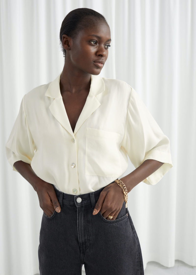 & Other Stories Cupro Blend Relaxed Fit Shirt in White $89