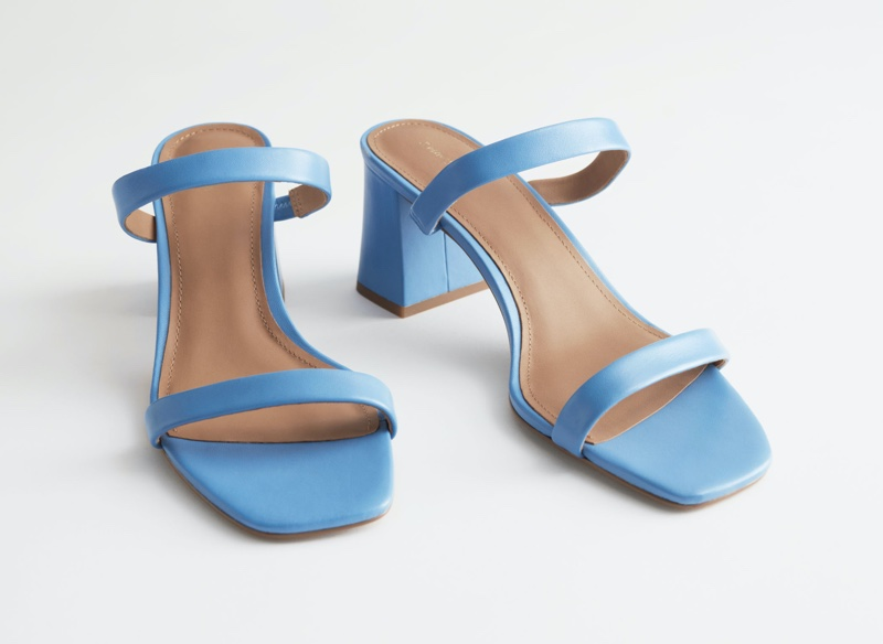 & Other Stories Duo Strap Leather Heeled Sandals in Blue $99