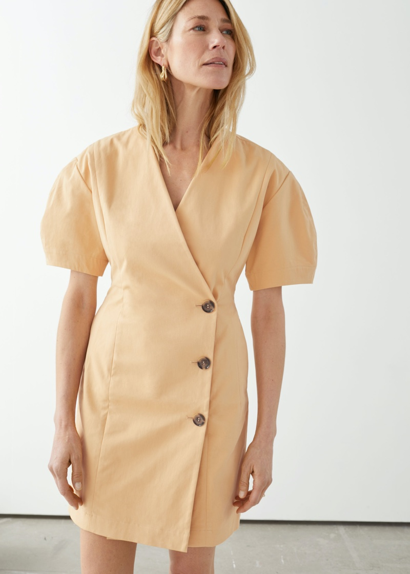 & Other Stories Fitted Button Wrap Mini Dress $99