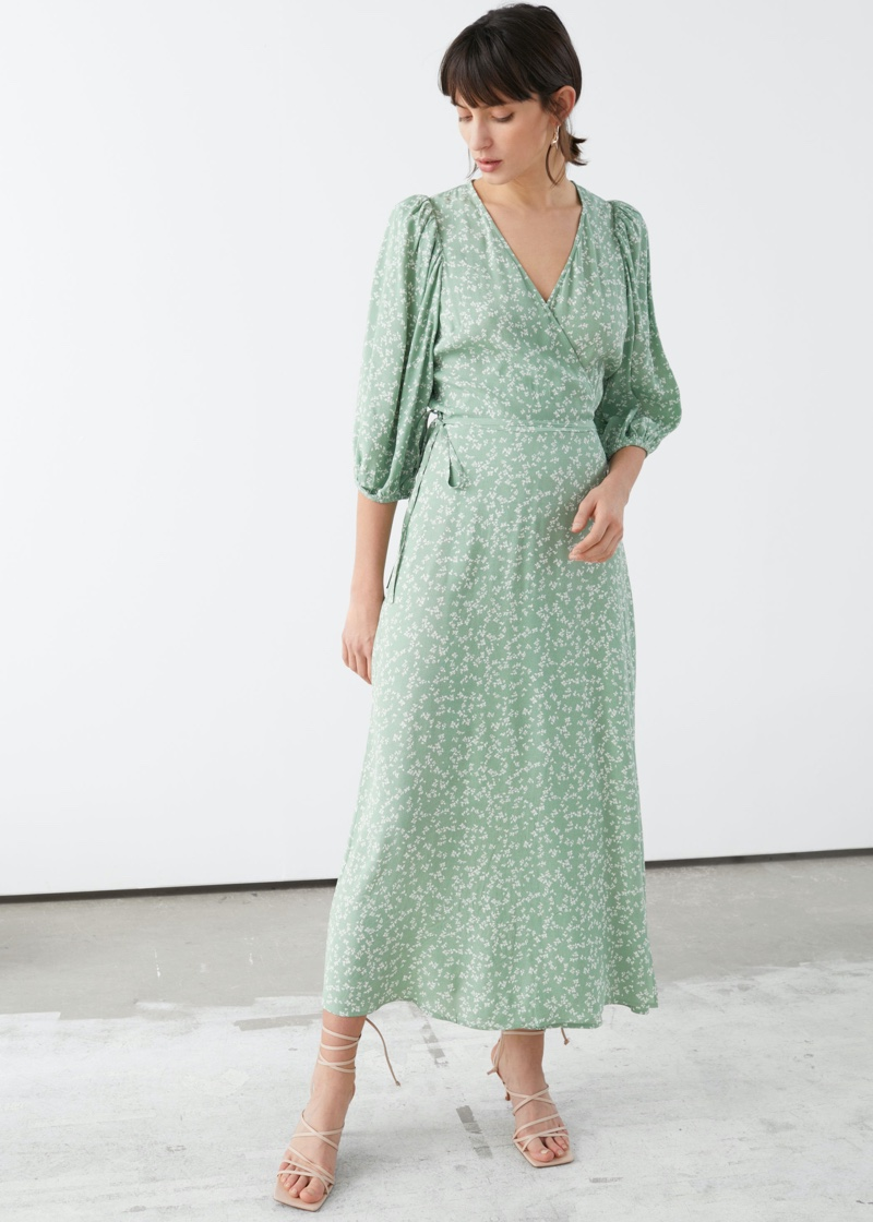 & Other Stories Printed Puff Sleeve Midi Wrap Dress in Green Florals $99