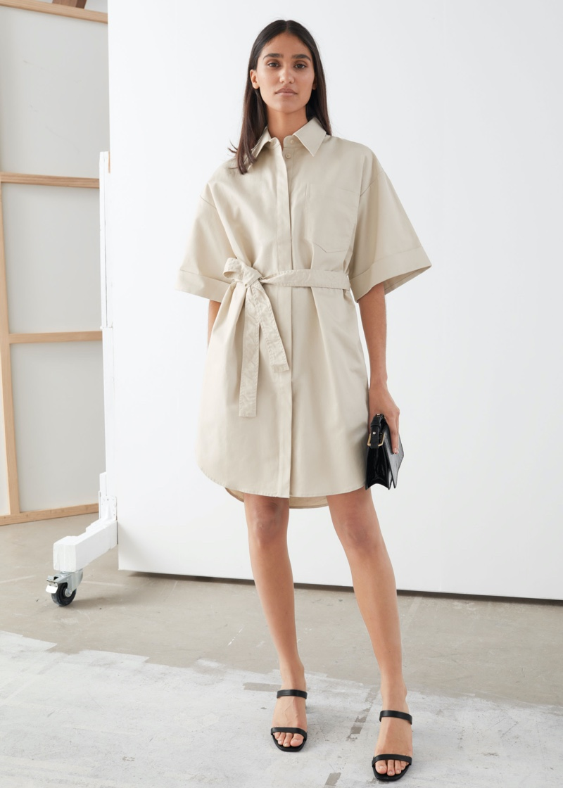 & Other Stories Topstitched Utility Shirt Dress in Beige $99