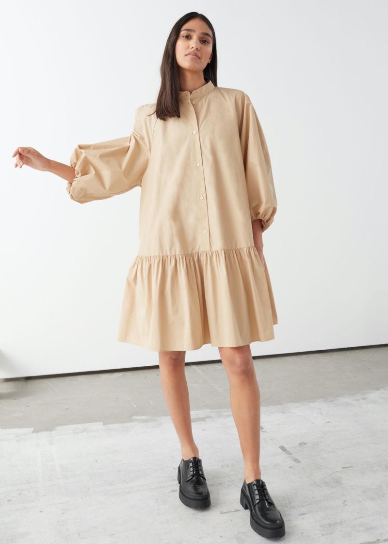 & Other Stories Voluminous Puff Sleeve Mini Dress $99