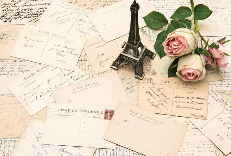 Paris French Postcards Roses Eiffel Tower