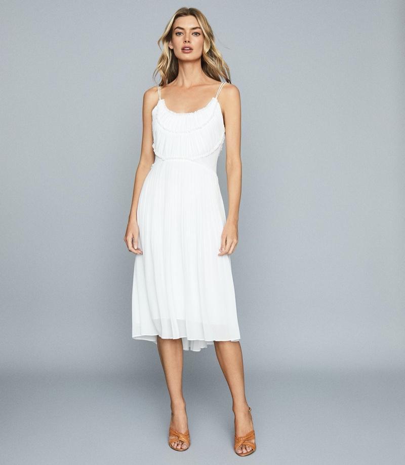 REISS Thora Pleated Chiffon Dress in White $425