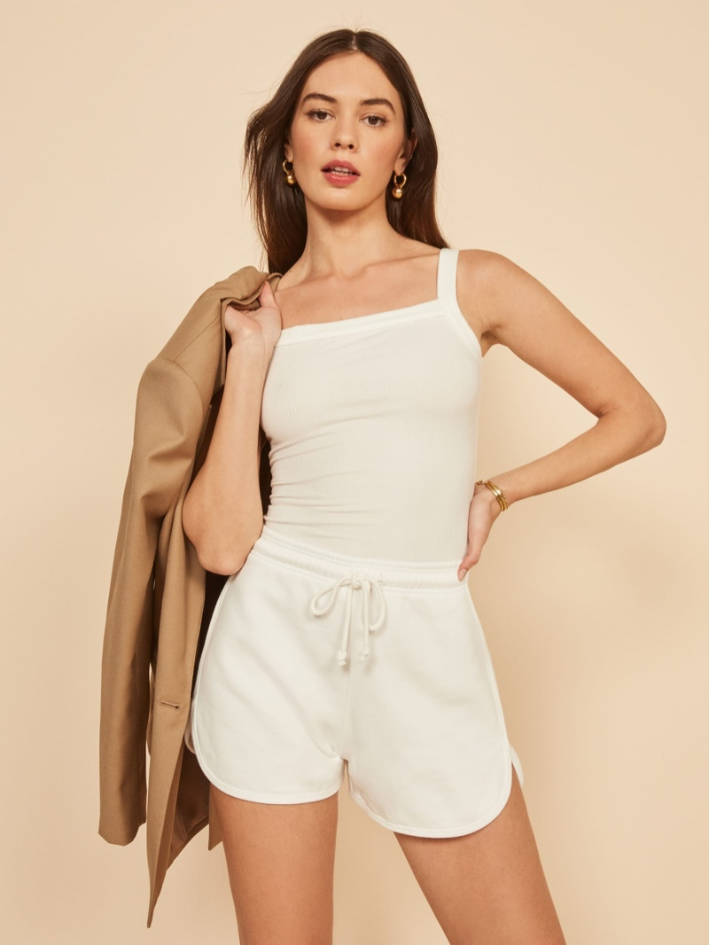 Reformation 70s Sweat Shorts in Vintage White $58