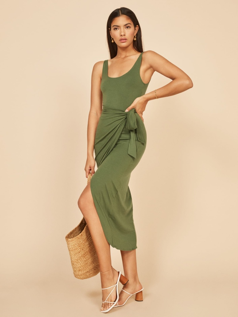 Reformation Kaila Dress in Moss $98