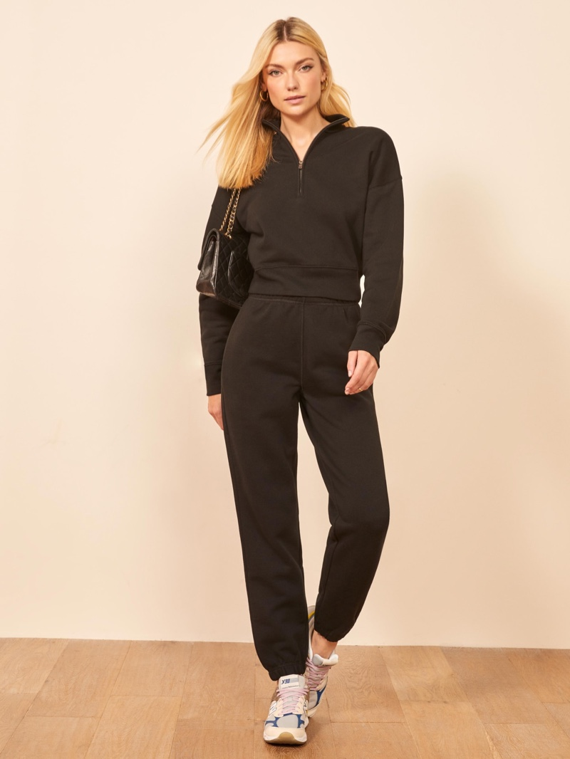 Reformation Marla Zip Sweatshirt $78 and Classic Sweatpant in Black $68
