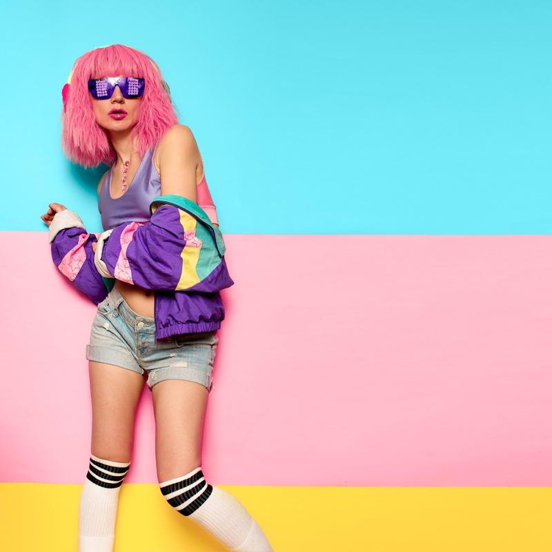 Retro Active Style Pink Hair Denim Shorts