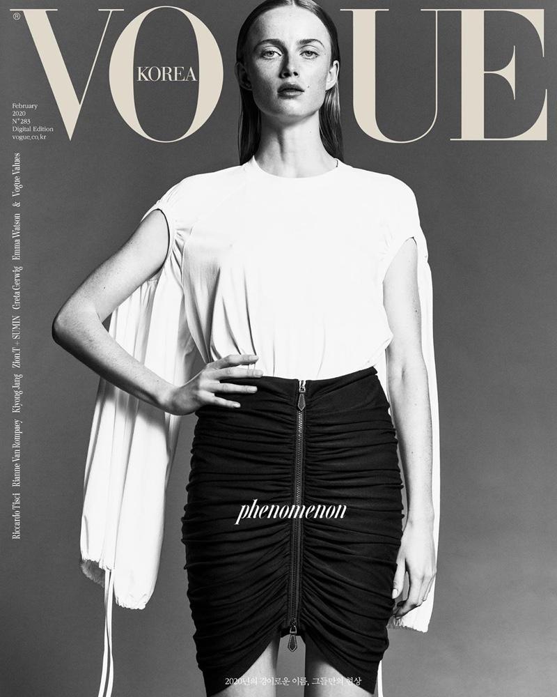 Rianne van Rompaey Poses in Glam Looks for Vogue Korea