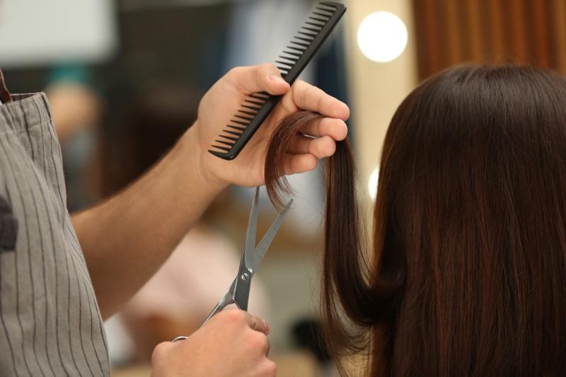 Salon Haircut Shears Bomb Long Brown Hair