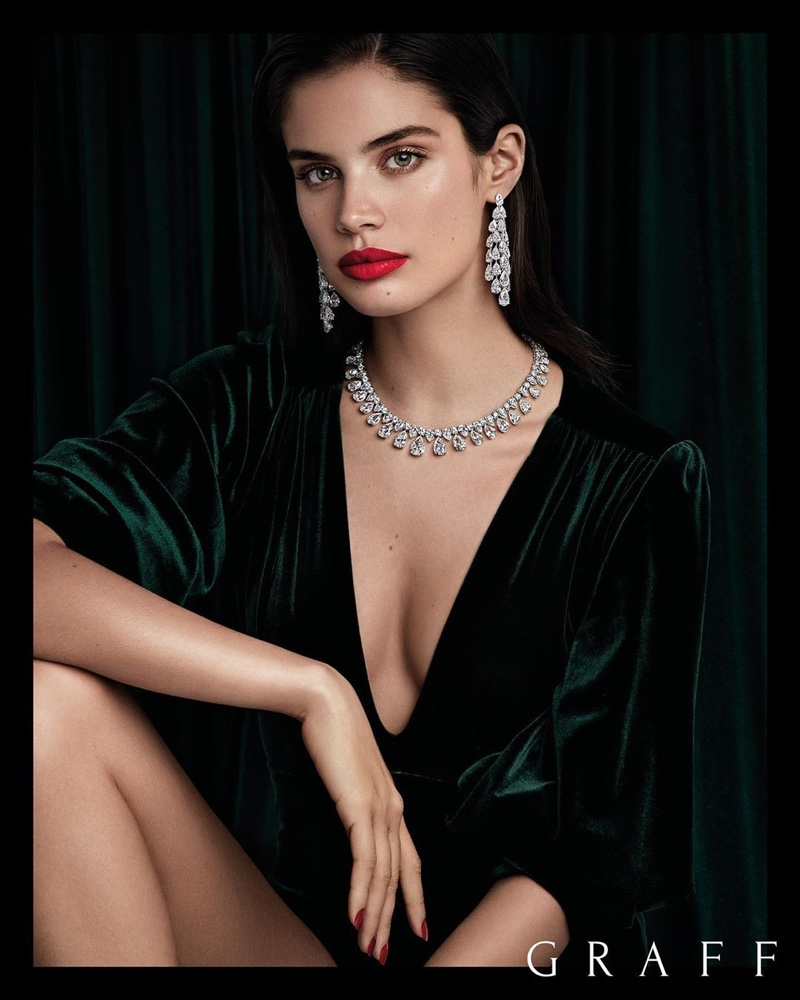 Model Sara Sampaio poses in high jewelry from Graff Diamonds