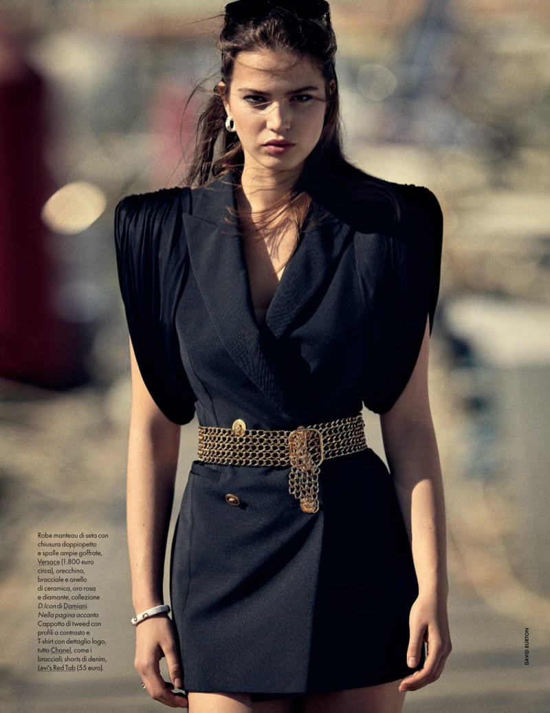 Sara Witt Wears Nautical Inspired Outfits for ELLE Italy