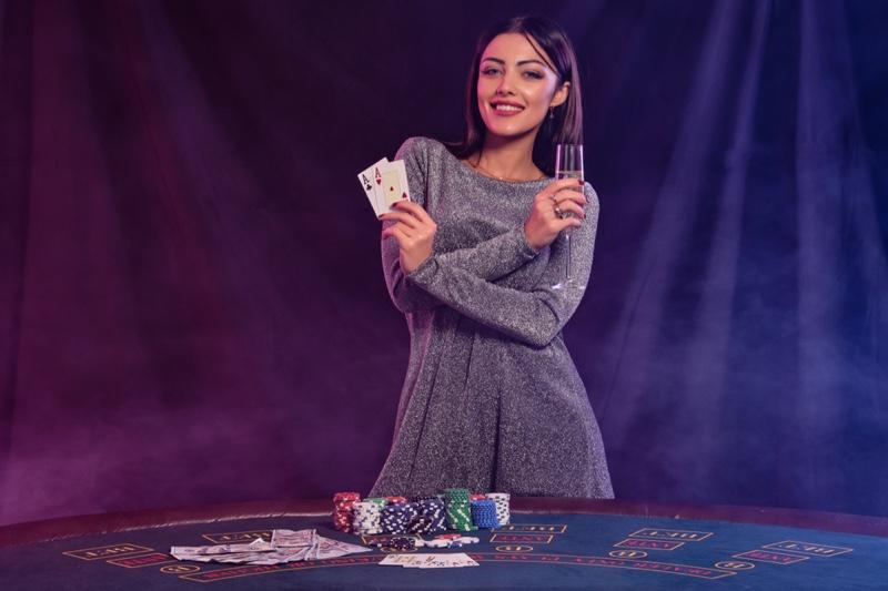 Smiling Model Grey Dress Casino Gambling