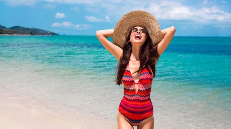 Smiling Woman Beach Striped Swimsuit Large Sunhat