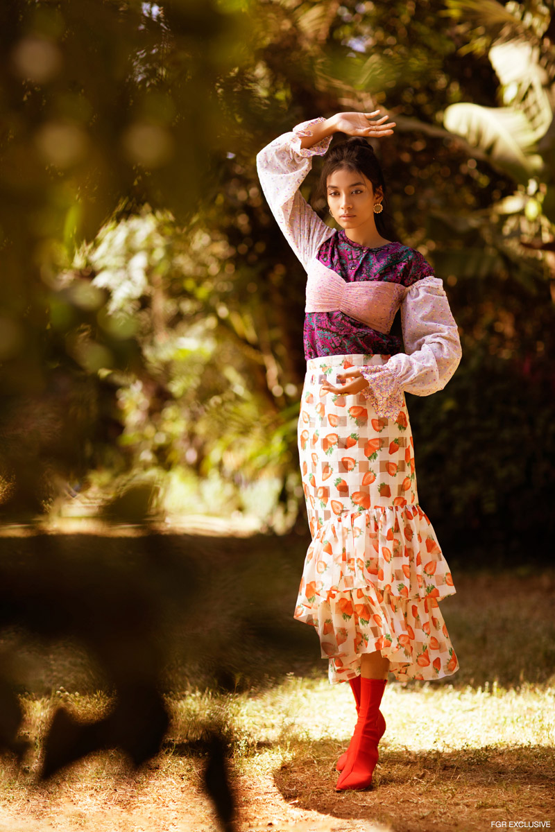 Shirt Calvin Vintage, Crop Top & Skirt Aniket Satam, Earring Hyperbole, Ring Box Of Hues and Shoes Hogwash. Photo: Kay Sukumar