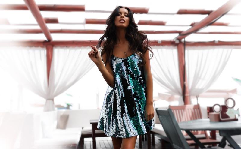 Tanned Dark Haired Model Glam Sequin Dress