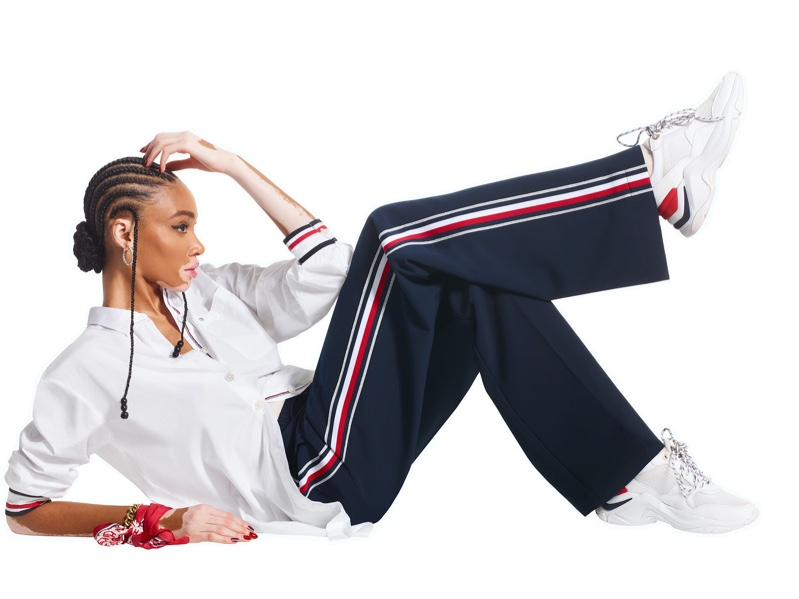Winnie Harlow strikes a pose in Tommy Hilfiger Icons spring-summer 2020 campaign