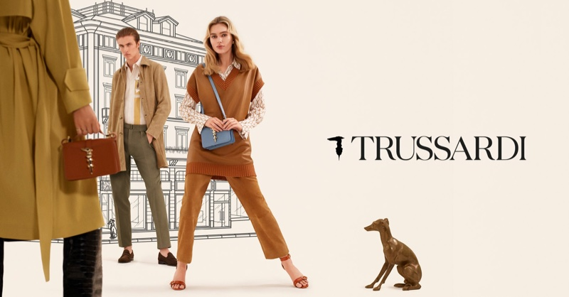 Models Staz Lindes and Lucky Blue Smith front Trussardi spring-summer 2020 campaign