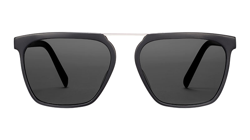 Warby Parker Drummond Sunglasses in Jet Black Matte with Polished Silver $145