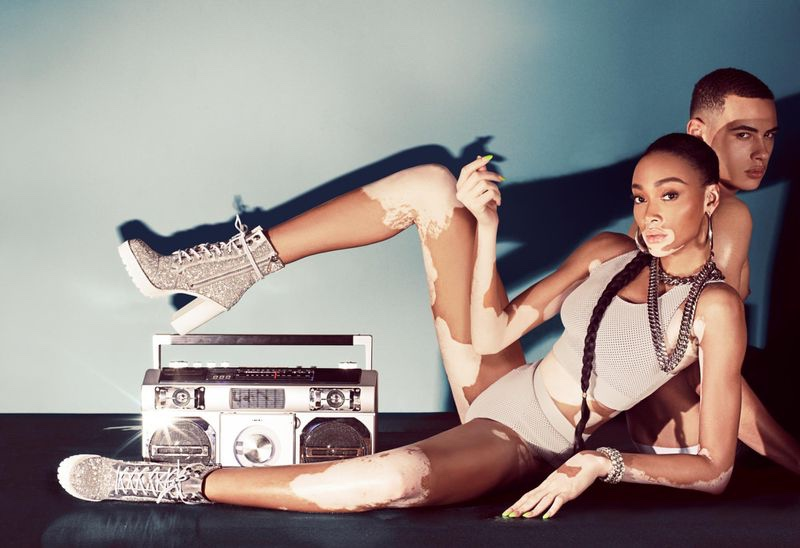 An image from Winnie Harlow x Steve Madden's spring 2020 advertising campaign