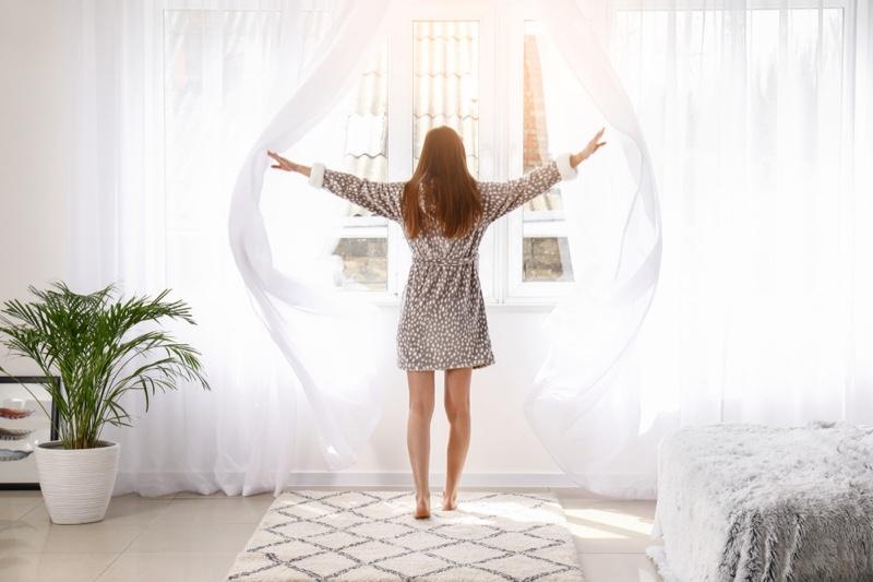 Woman Bedroom Curtains Light White Decor