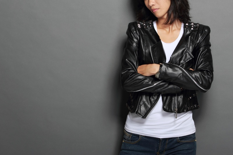 Woman Leather Jacket White Tank Top Jeans