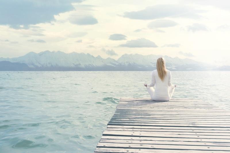 Woman Relaxing Water Meditation Yoga Pose Calm