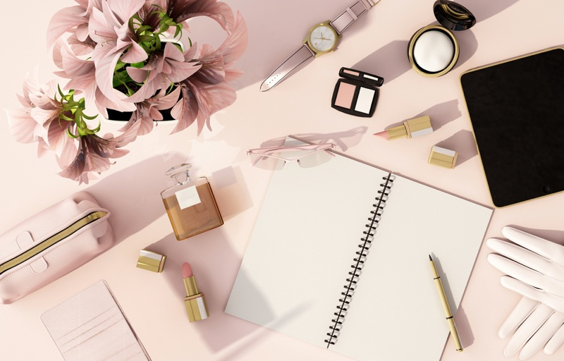 Woman's Stationary Notebook Makeup Products Flowers