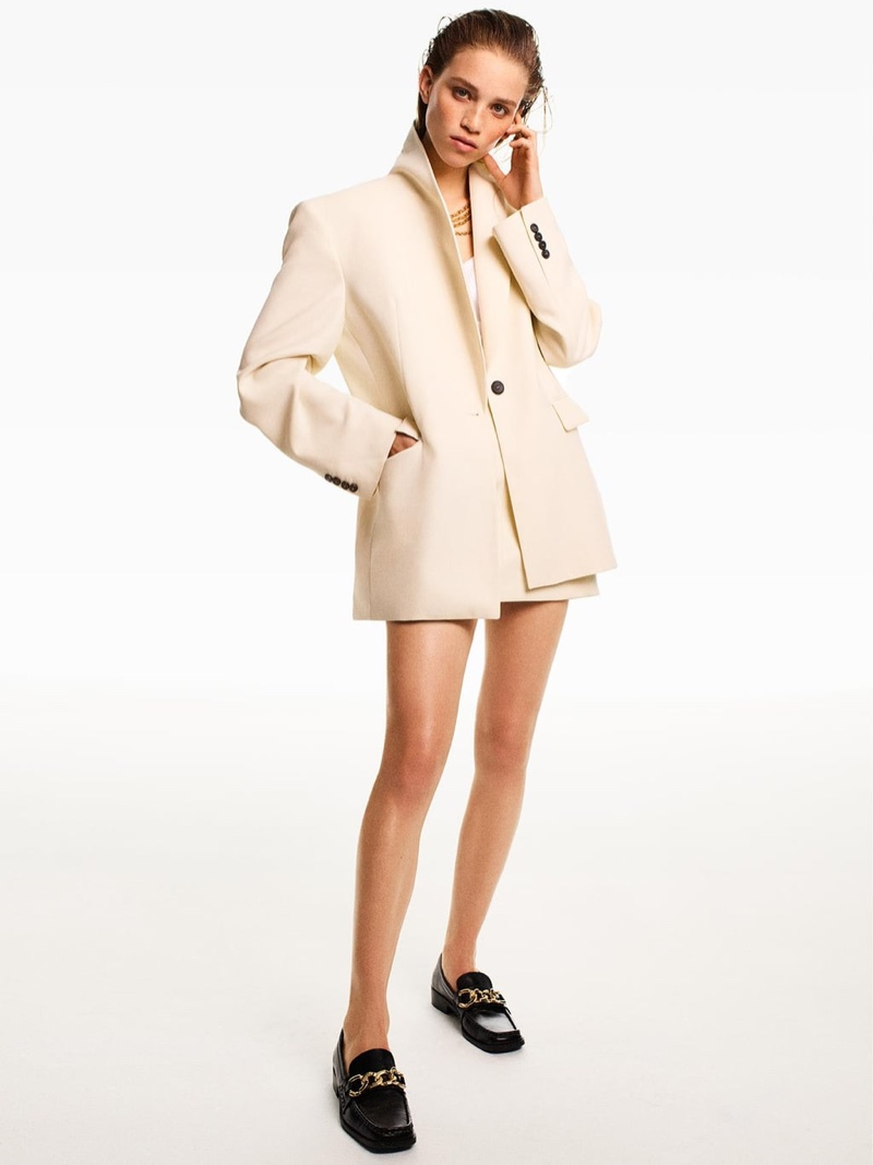 Zara Oversized Blazer, Ruched Mini Skirt and Chain Trim Leather Loafers