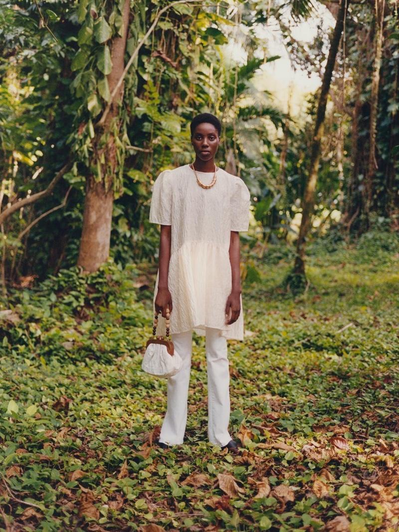 Elecia Gordon poses for Zara Lost Garden spring-summer 2020 editorial