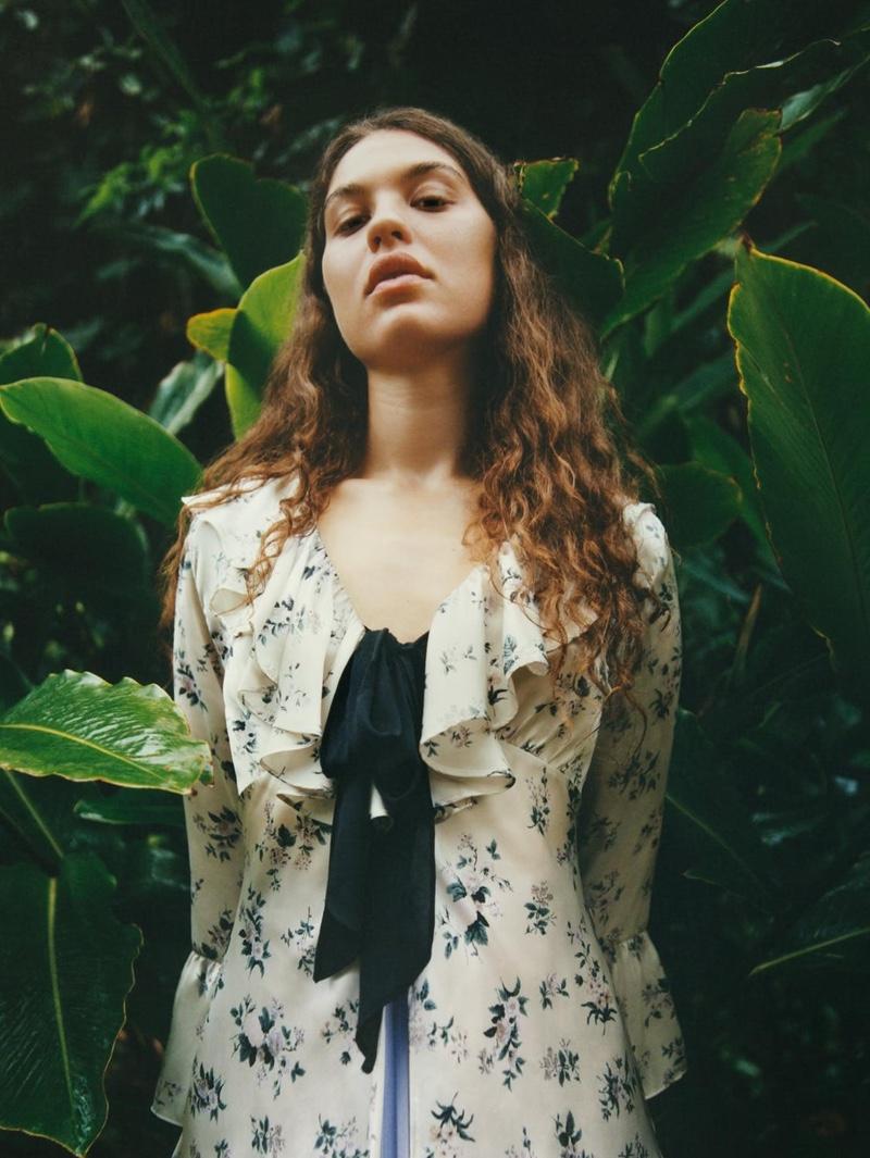 Lua Beaulieu models Zara Printed Shirt with Tie and Pleated Midi Skirt