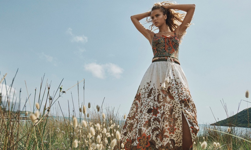 Zimmermann features Empire Draw one-piece and Empire Batik skirt in Swim summer 2020 campaign