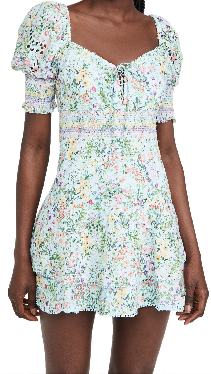 alice + olivia Crawford Sweetheart Puff Sleeve Mini Dress $395