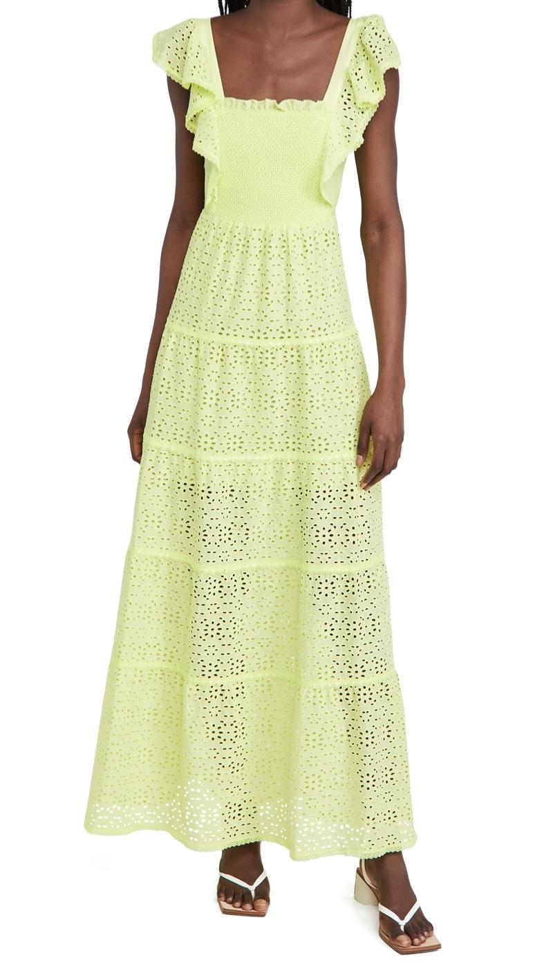 alice + olivia Jules Tie Back Paneled Maxi Dress $595