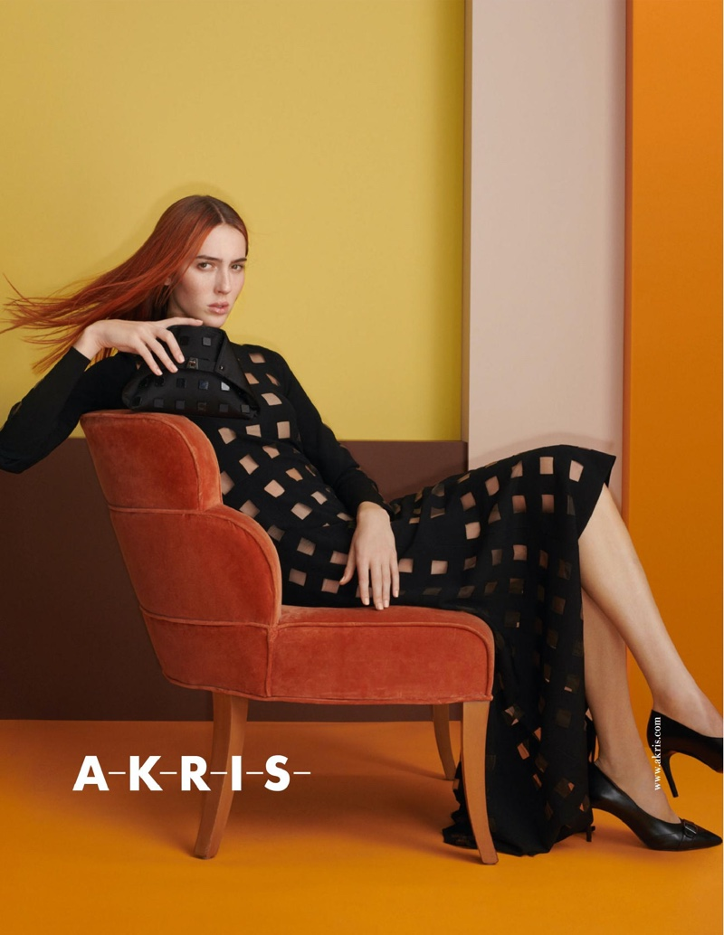 Model Teddy Quinlivan appears in Akris spring-summer 2020 campaign.