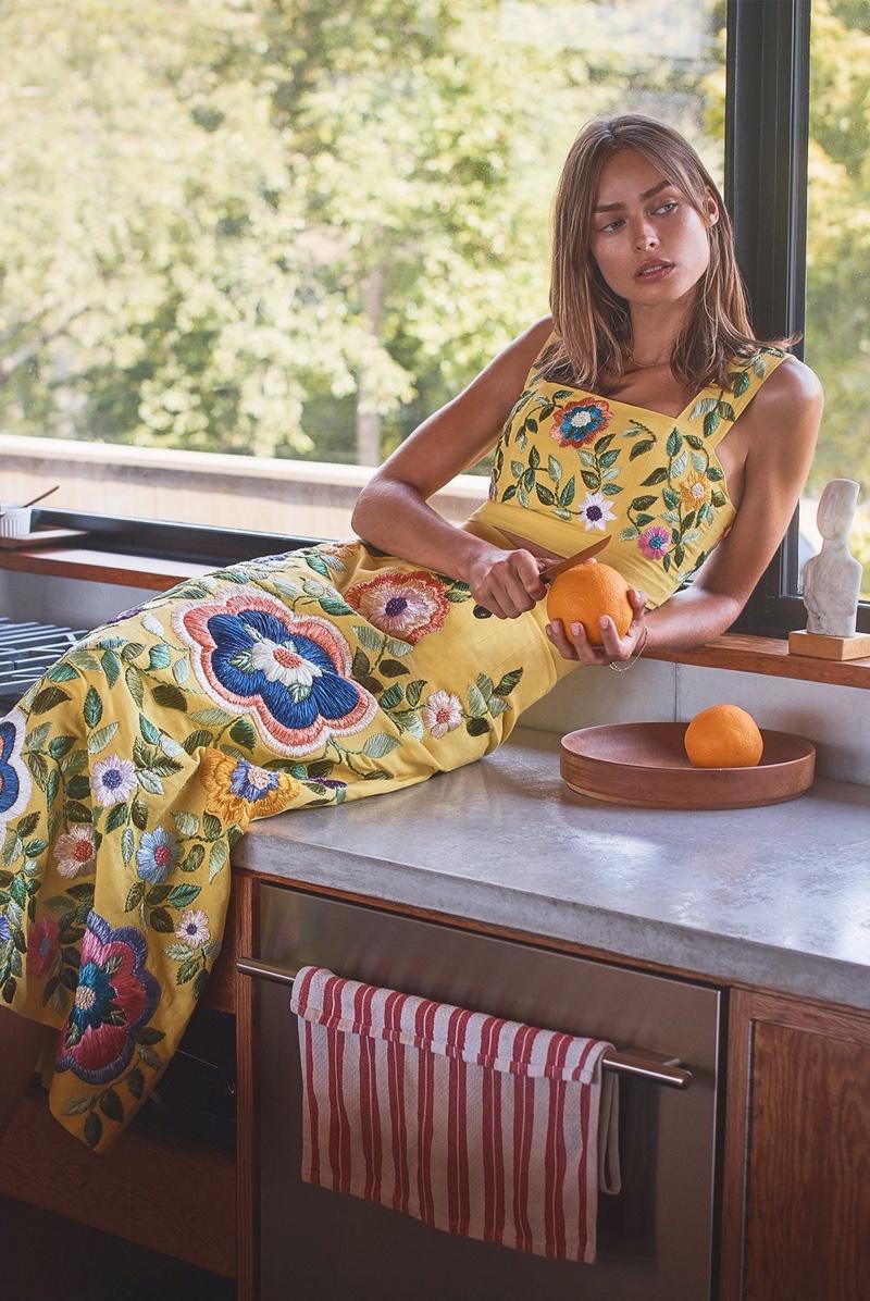 Model Birgit Kos poses for Alexis spring-summer 2020 campaign