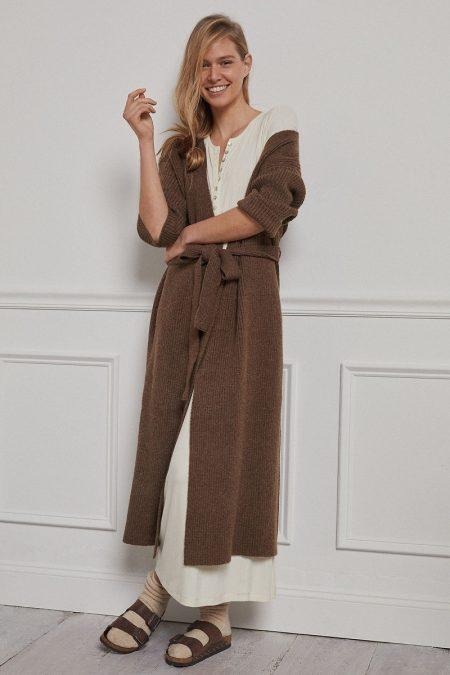 Amadi Alma Cozy Cardigan in Brown $148