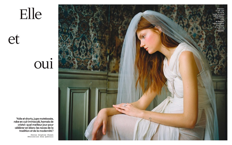 Anastasia Ivanova Models Bridal Fashion for Marie Claire France