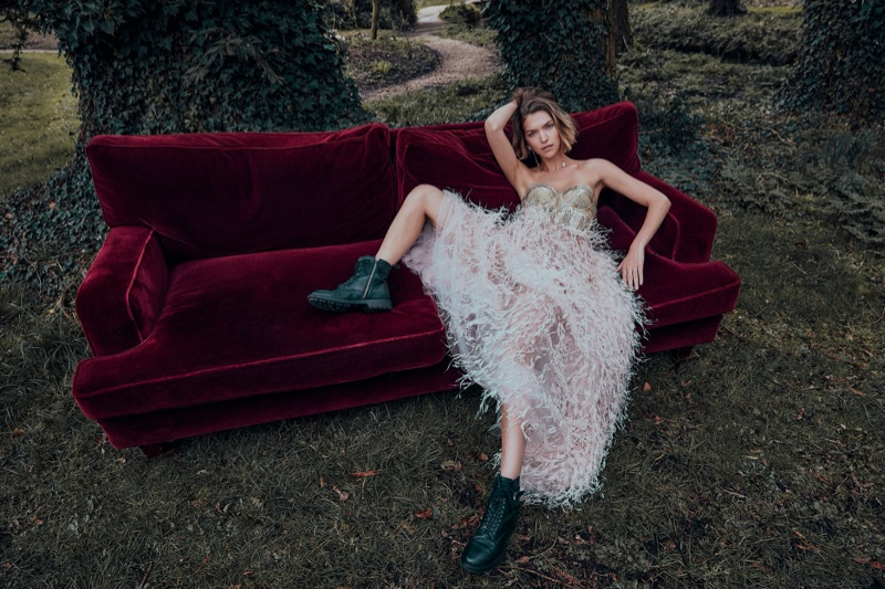 Arizona Muse Poses in Romantic Gowns for Country & Townhouse