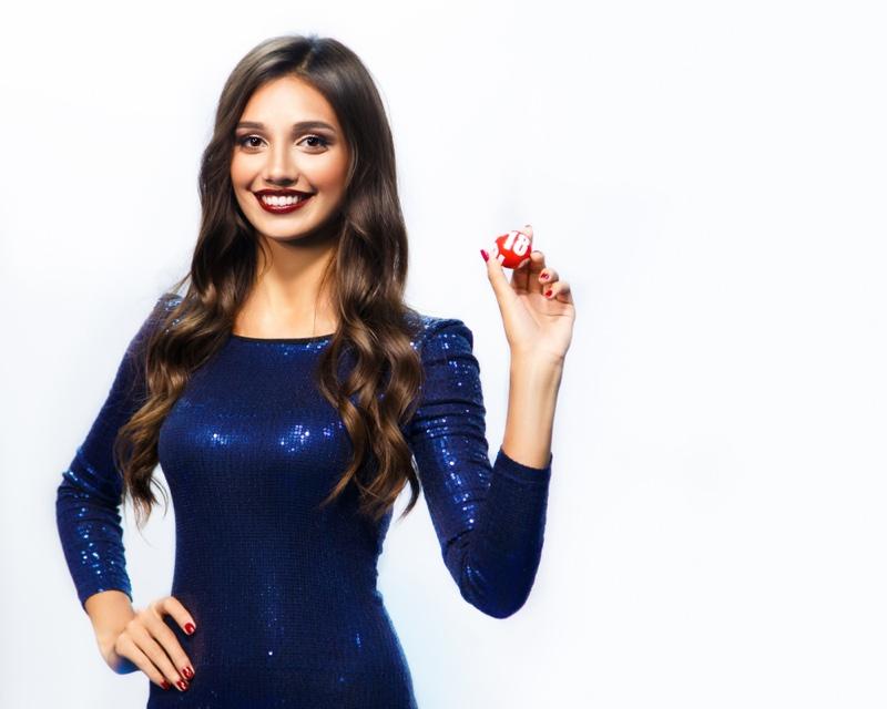 Bingo Girl Lottery Holding Ball Sequin Dresses