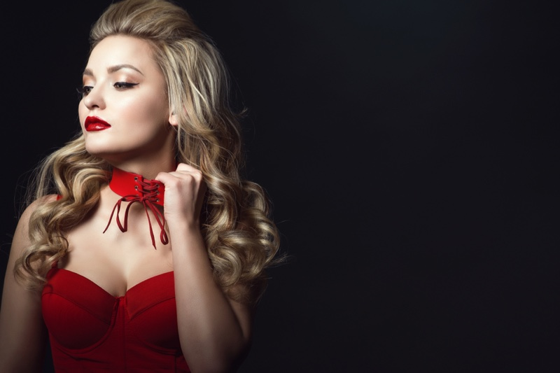 Blonde Model Red Corset Choker Necklace